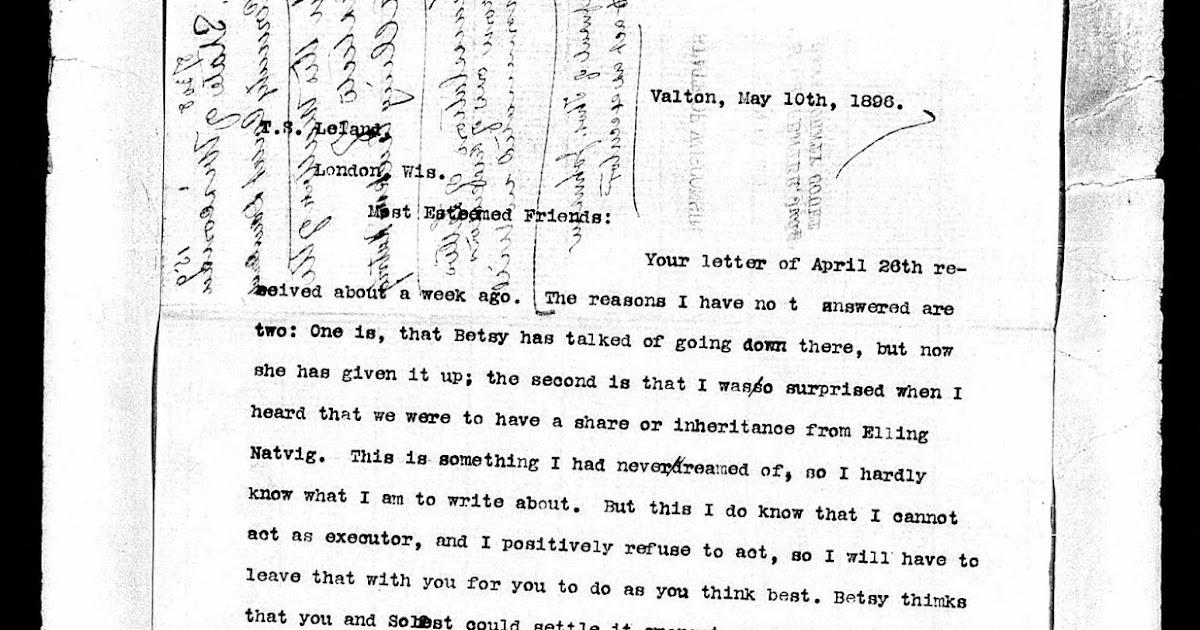 Genea Musings Amanuensis Monday 1896 Letter Of