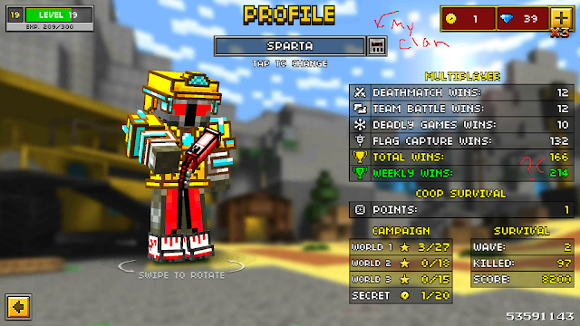 Pixel Gun 3D player profile