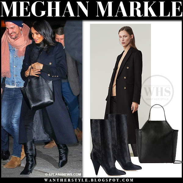 Meghan Markle In Dark Navy Coat With Black Boots And Black