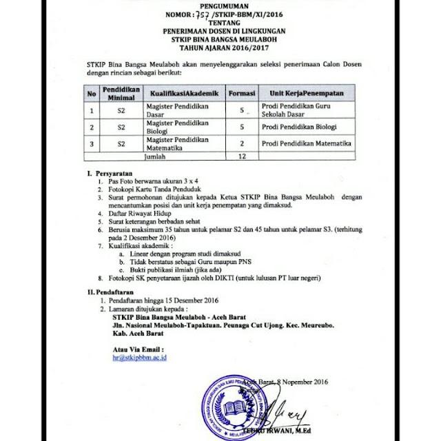 Lowongan Kerja Dosen STKIP Bina Bangsa Melubaoh Aceh  November 2016