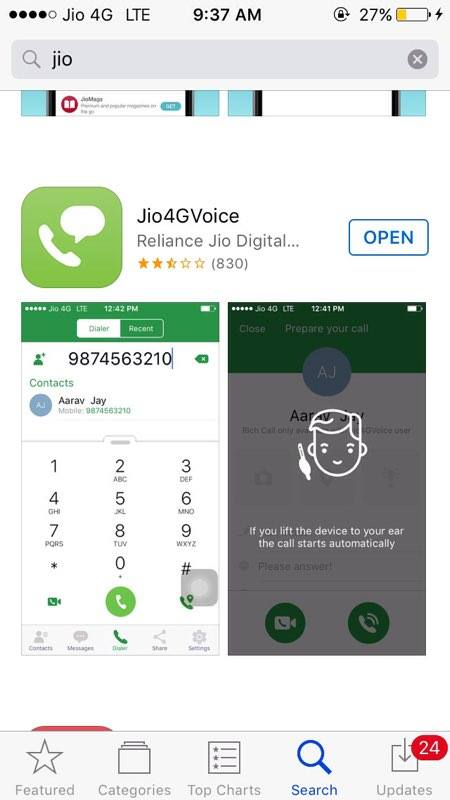 OFFICIAL] Jio4gVoice finally on iOS ( for iPhone 5, 5s, 5c