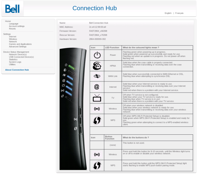 Bell Fibe Home Hub 2000 Instruction Manual