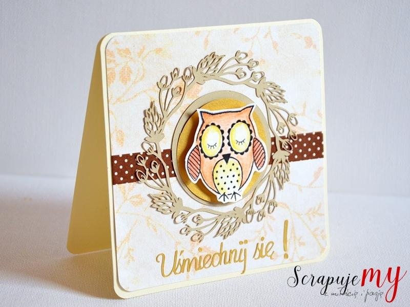kartka z sówką, kartka wywołująca uśmiech