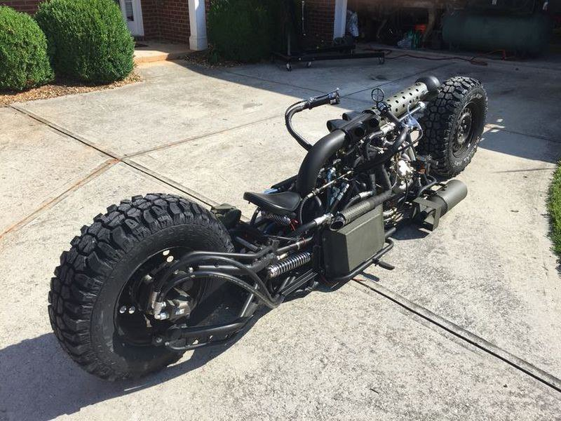 Twin Turbo all-wheel drive diesel motorcycle