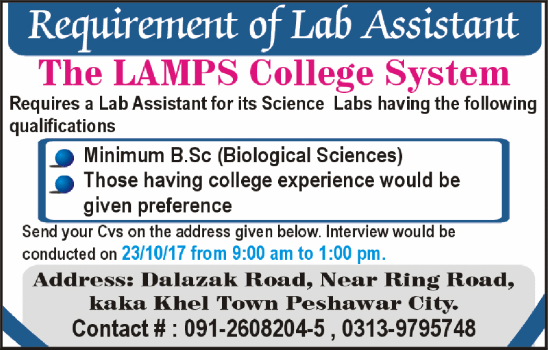 Lab Assistant Jobs in LAMPS College System Peshawar October 2017.