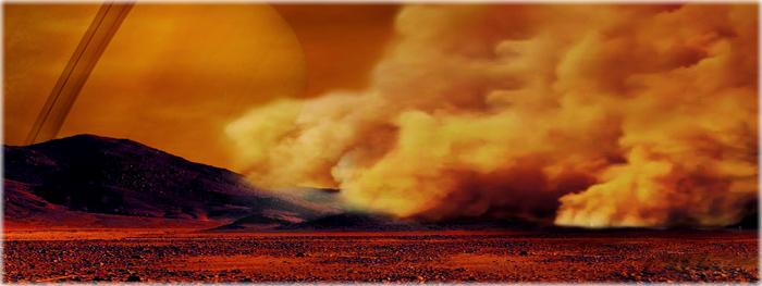 tempestades de poeira em titã, lua de Saturno