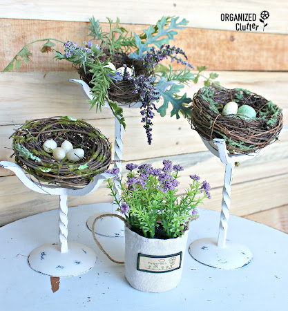 Spring Decor From Repurposed Candle Holders