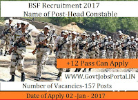 Border Security Force Recruitment For 157 Sub Inspector Posts 2017