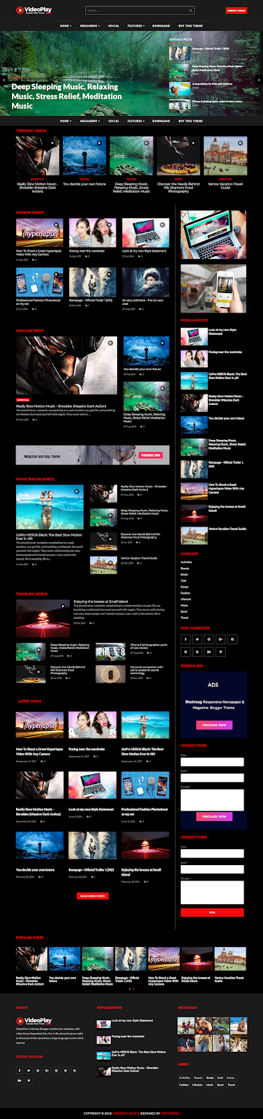 VideoPlay Blogger Template