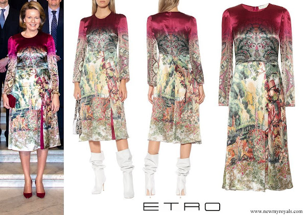 Queen Mathilde wore ETRO printed satin midi dress