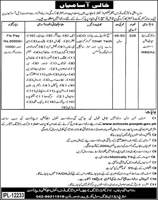 M&EAs Jobs in Pakistan Schools Education Jobs