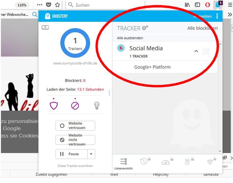 Trackern auf einem Blogspot Blog mit Social Media - Google +