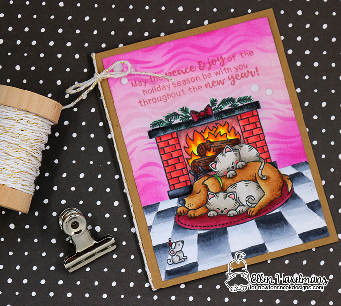 Cozy Fireplace Card by Ellen Haxelmans | Fireside Friends Stamp Set by Newton's Nook Designs #newtonsnook #handmade