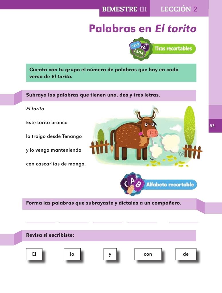 Palabras en El torito - Bimestre III - Lección 2 ~ Apoyo Primaria