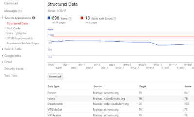Screenshot:structured data page