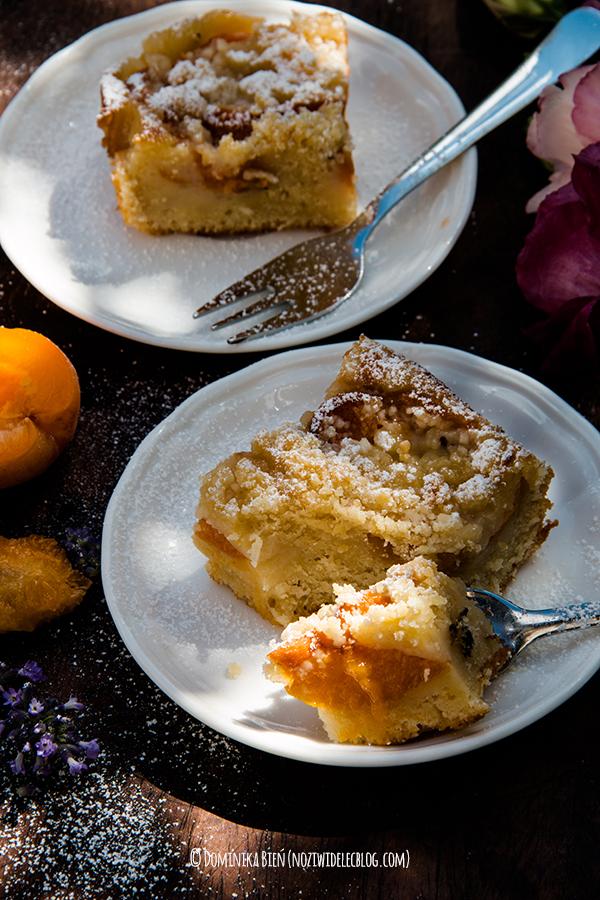 ciasto, morele, lawenda