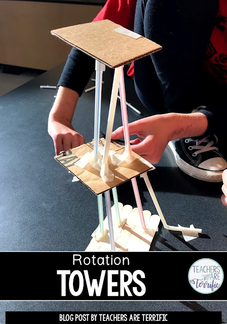 STEM Challenge- a unique approach using rotations to stations to complete the tower as a whole class! Fascinating challenge!