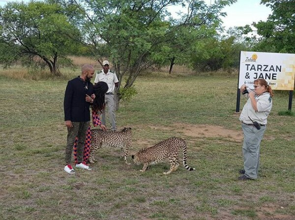 Photos: Newlyweds BankyW and Adesua play with cheetahs