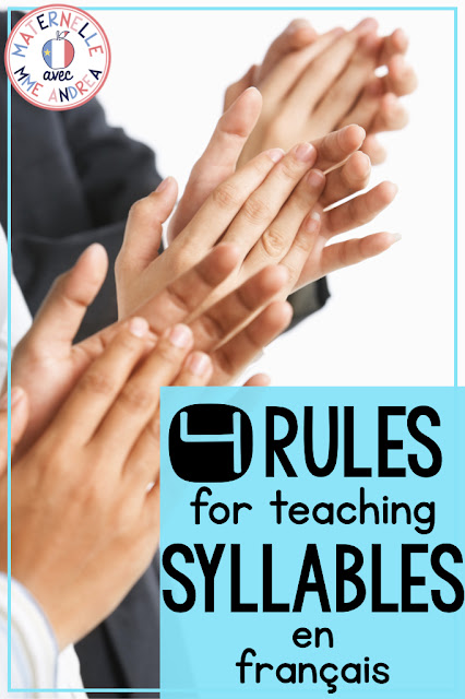 Are you an anglophone teacher teaching in a French early elementary classroom? Or, do you just need to brush up on the official rules of dividing words into syllables en français before you begin teaching them? Check out this blog post for four easy to understand rules for teaching syllables to French students! Includes a FREE teaching guide to syllables