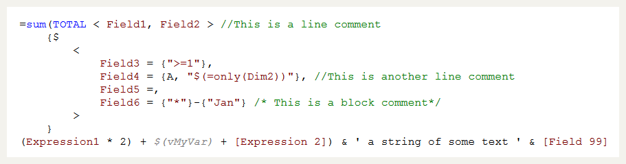 A QlikView expressions showing syntax highlighting