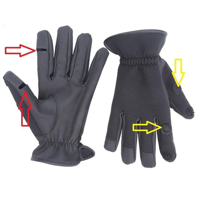 Στην εικόνα βλέπουμε ένα finger cut γάντι εμπορίου. Αρχικά δείτε το Velcro  για να ασφαλίζει τις κομμένες άκρες ανοικτές όταν θέλουμε (κίτρινα βέλη). fde3ff108d9