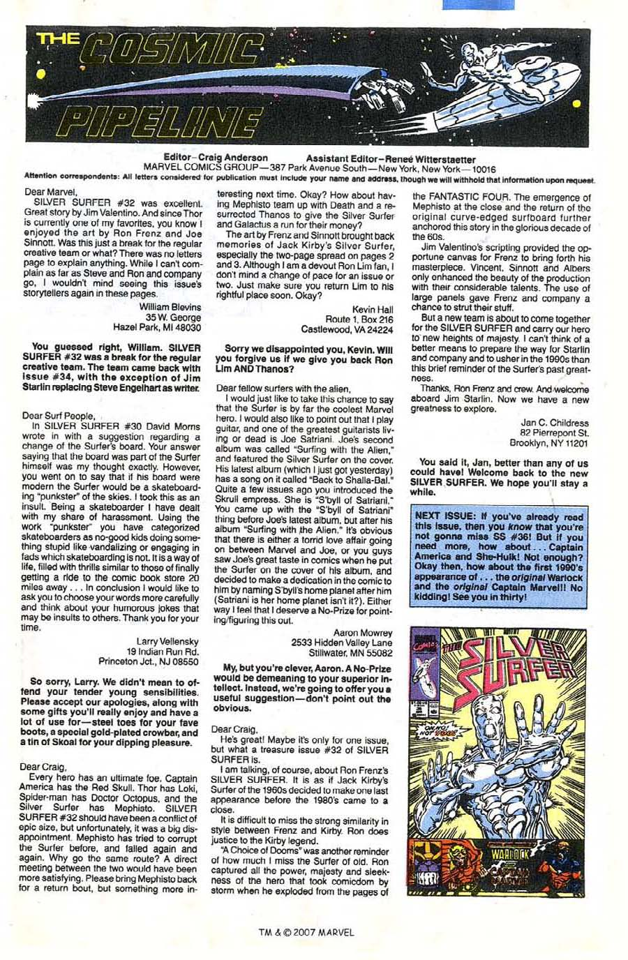 Read online Silver Surfer (1987) comic -  Issue #35 - 33