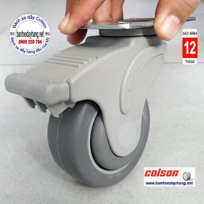 Bánh xe đẩy có khóa Colson Mỹ càng nhựa 3 inch | STO-3856-448BRK4 www.banhxedayhang.net