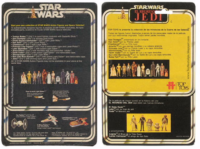 TOP TOYS back card - El Regreso del Jedi - Argentina