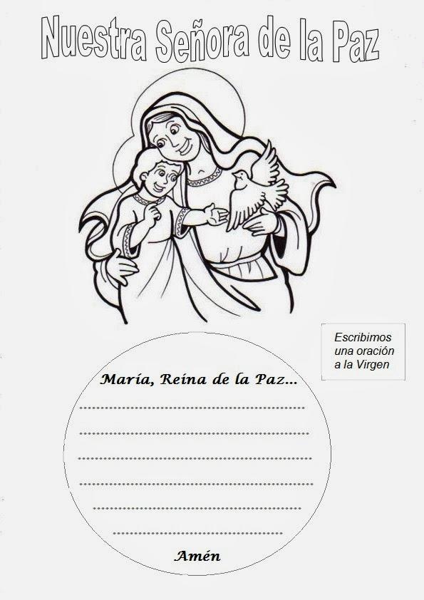 Resultado de imagen para dibujos de MARÍA REINA DE LA PAZ