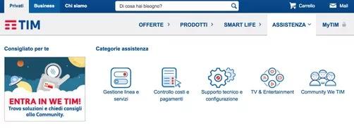 sito ufficiale tim per assistenza online linea fissa