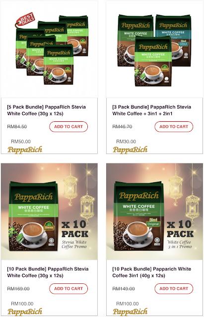PappaRich Stevia White Coffee 3 in 1 Discount Offer Promo