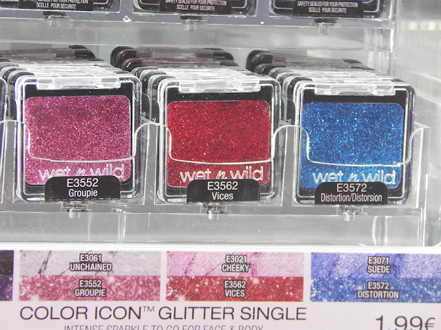 Pink red and blue glitter singles from the Wet n Wild Color Icon collection
