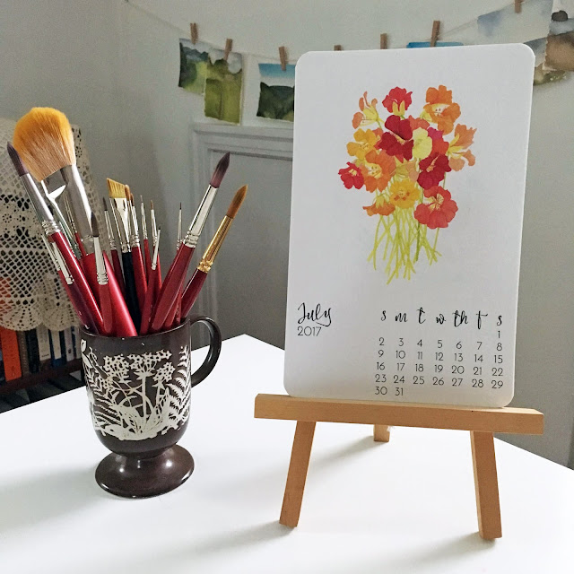 studio, watercolor, art print calendar, nasturtiums, paint brushes, Anne Butera, My Giant Strawberry