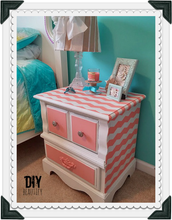 How to paint a nightstand with chevron stripes at DIY beautify