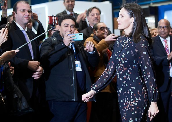 Queen Letizia wore a confetti-print shirt dress by Massimo Dutti. She wore Magrit red pumps. diamond earrings
