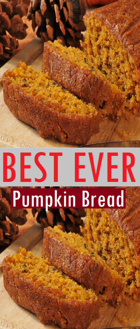 Best Ever Pumpkin Bread Recipe - This traditional pumpkin bread recipe is an easy to make quick bread loved by everyone. Make sure you serve it with Honey Butter! Your family will love it! #pumpkin #bread #pumpkinbread #breadrecipe #bestbread #bestrecipe #breakfast #dessert