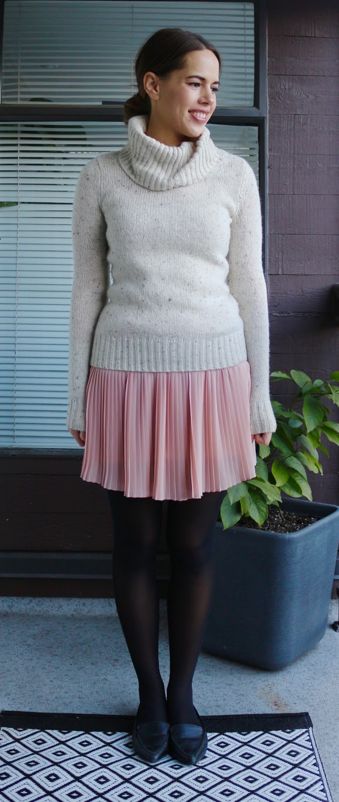 Jules in Flats - Pleated Mini Skirt and Turtleneck Sweater for Work