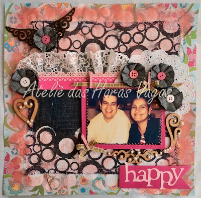 scrapbook jeans mixed media happy
