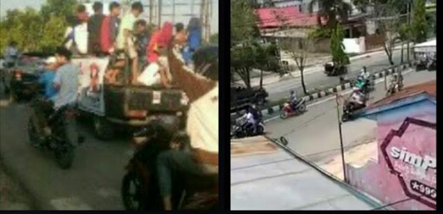 Massa Jokowi dan Prabowo konvoi di Batubara.
