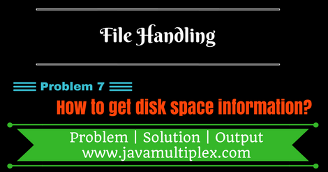 Java program that prints disk space information of given disk drive.