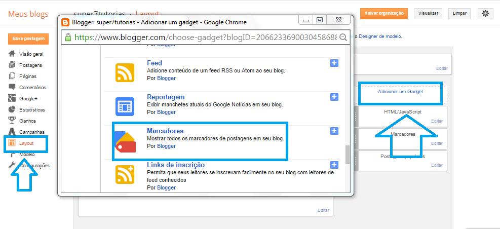 Como colocar categorias no blogger