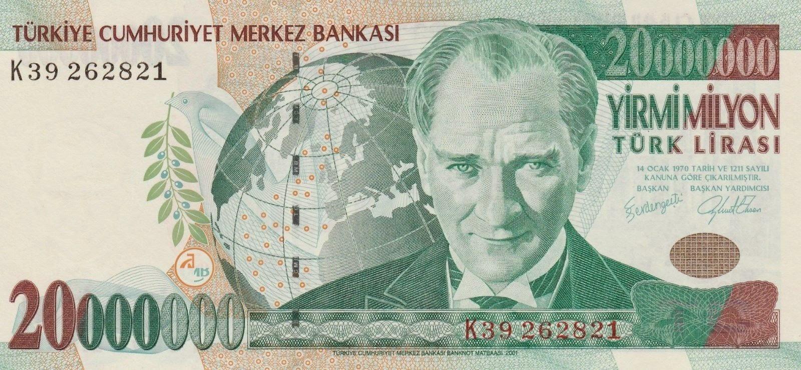 """Turkey Banknotes 20 Million Turkish Lira """"Türk Lirasi"""" note Mustafa Kemal Atatürk"""