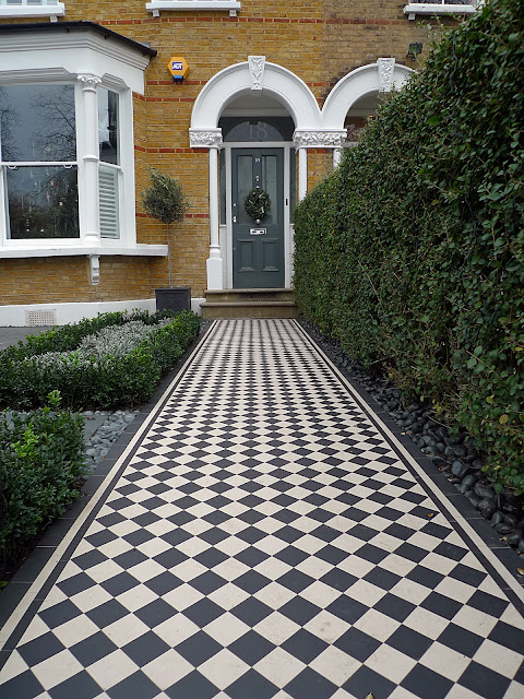 Black and white Victroian mosaic tile path slate paving topiary Balham Kensington Sloane Square Victoria Chelsea Clapham