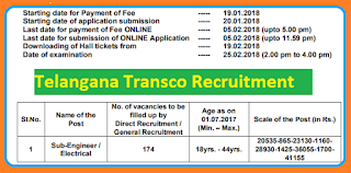TS TRANSCO 174 Sub-Engineer/ Electrical Recruitment Notification