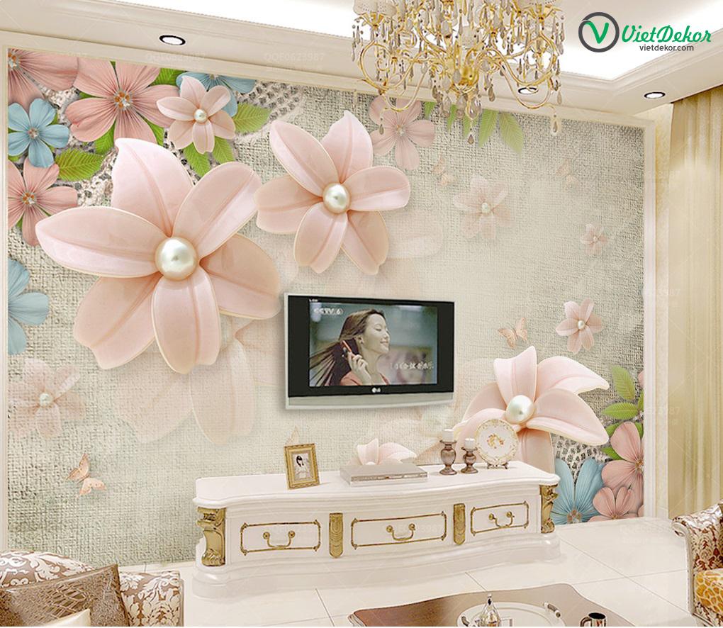Tranh dán tường 3d  hoa phòng ngủ đẹp