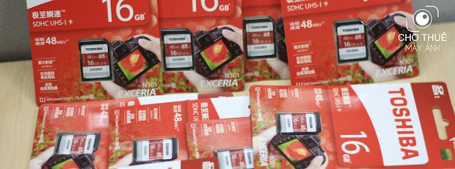 Thẻ nhớ là một trong các tiện ích dành cho khách hàng dùng dịch vụ cho thuê máy ảnh