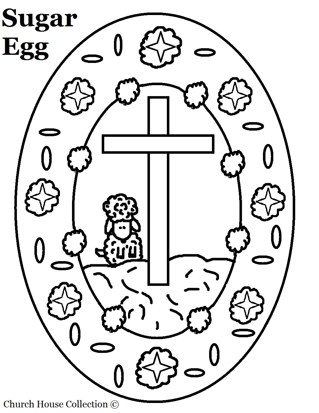 Sugar Egg With Cross And Sheep Coloring Page For Easter