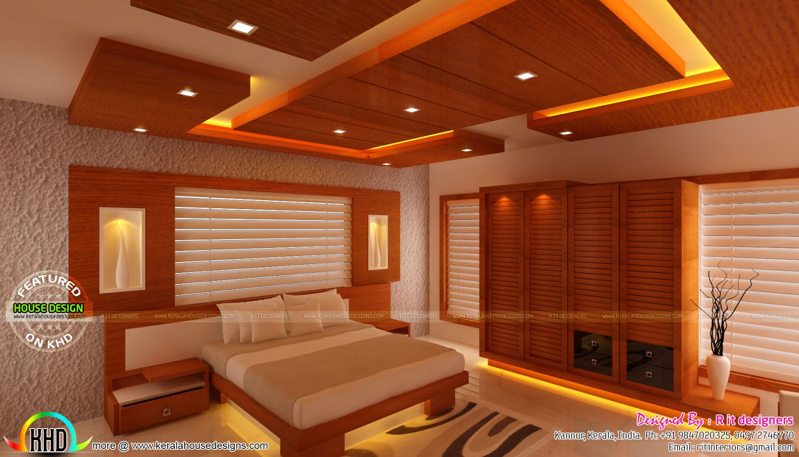 Wooden finish interior designs kerala home design and for Kerala interior designs