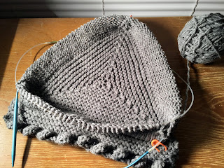 knitted base, knitting in progress