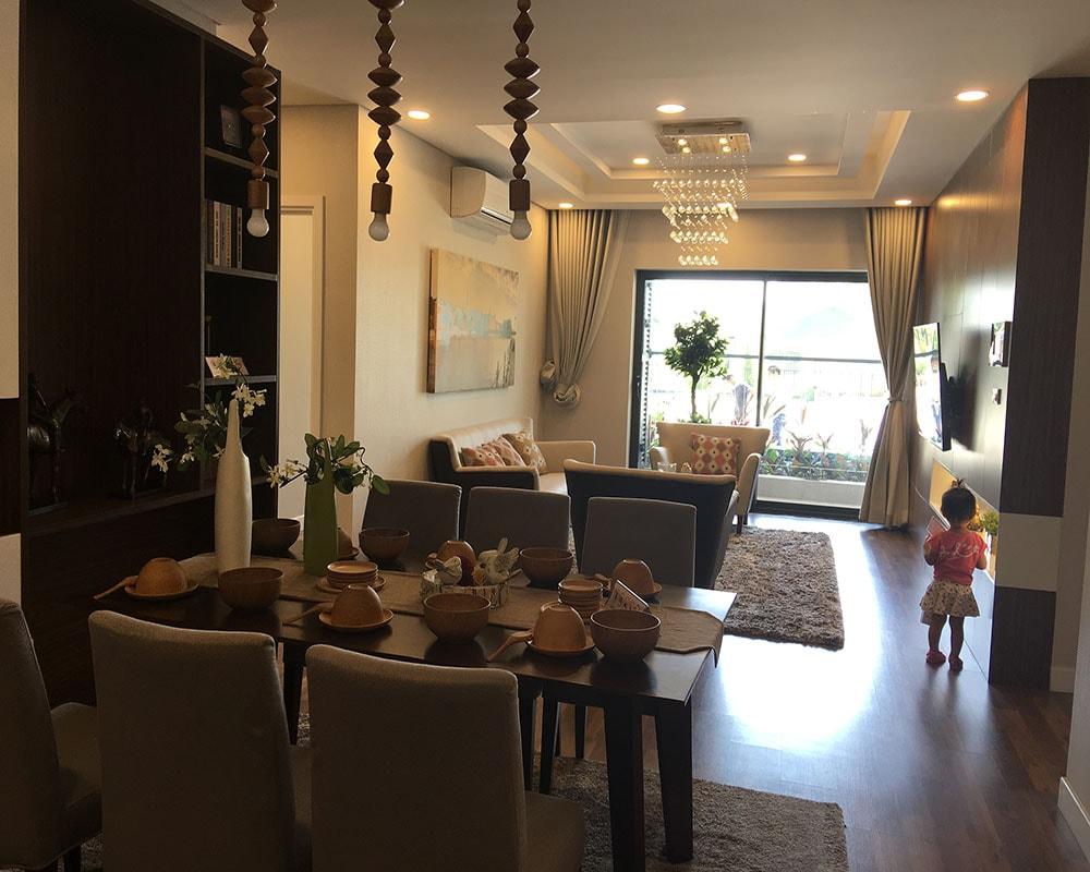 Phòng khách căn hộ 3 ngủ 121m2 Goldmark City